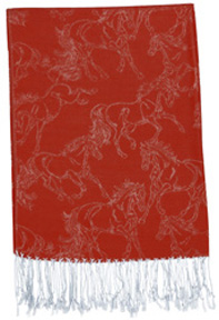 Lila Linear Horse Pashmina Scarf RED #GG1020RD