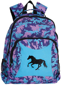 Camo Backpack Galloping Horse TURQUOISE #GG835