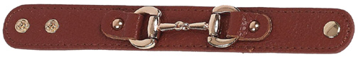 Leather Snaffle Bit Bracelet BROWN #JB4850BR