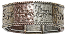 Mixed Metal Stretch Bracelet LILA HORSE #JB136