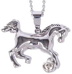 Rhodium-Plated Horse Necklace CLEAR STONE #JN634CK