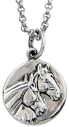 Sterling Silver Round Pendant HORSE HEAD #JN9332