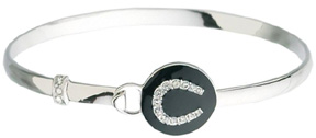 Rhodium Bangle Bracelet w/ Black Enamel CZ Horseshoe #JB7696