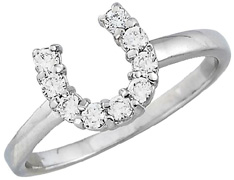 Sterling Silver Ring CZ HORSESHOE #JR5320CL