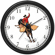 Cowboy on Bucking Bronco Clock WatchBuddy Watches