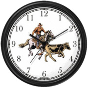 Horse & Rider Chasing Calf in Calf Wrestling Clock WatchBuddy Watches