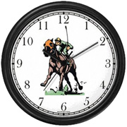 Thoroughbred Racehorse & Jockey Driving Down the Stretch Clock WatchBuddy Watches