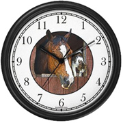 Brown Horse w/ Blaze & Calico Cat Clock WatchBuddy Watches