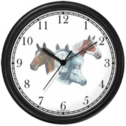 Brown, Paint, White Mare & Foal Clock WatchBuddy Watches