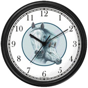 White Mare & Foal in Circle Clock WatchBuddy Watches