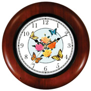 Roses & Butterflies Wooden Clock WatchBuddy Watches