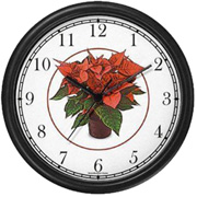Poinsettas in Flower Pot Clock WatchBuddy Watches