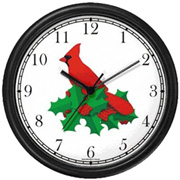Red Cardinal / Christmas Mistletoe Clock WatchBuddy Watches