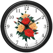 Red & Peach Rose Bouquet Clock WatchBuddy Watches
