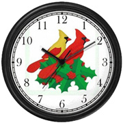 Red-Yellow Cardinals / Christmas Mistletoe 2 Clock WatchBuddy Watches