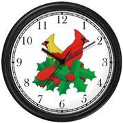Red-Yellow Cardinals / Christmas Mistletoe 1 Clock WatchBuddy Watches