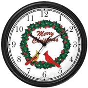 Red-Yellow Cardinals / Merry Christmas Wreath Clock WatchBuddy Watches