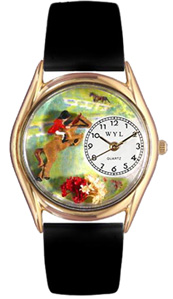 Horse Competition / Classic Gold Watch Whimsical Watches
