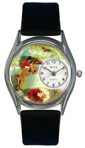 Horse Competition / Classic Silver Watch Whimsical Watches