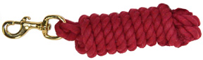 Cowboy Rope Lead w/ Brass Bolt Snap 10ft RED Hamilton Animal Products