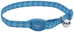 "Safe Cat Fashion Adjustable Breakaway COLLAR Teal Stitch Houndstooth 3/8"" 8-12"""