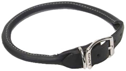 "Circle T Black Rolled Leather Dog COLLAR Black 3/4"" X 20"""