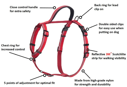 Halti Walking Harness Red LARGE