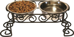 Mediterranean Old World Stainless Steel Double Diner 2X Bowls 1 PINT