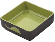 Four Square Dish 5 inch GREEN CAT