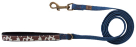 MuttNation Leash Blue Denim COUNTRY CHIC BROWN COWHIDE
