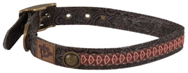 MuttNation Collar Tooled Leather IKAT Ribbon