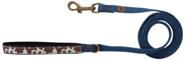 Muttnation Blue Denim Leash Brown Cowhide SMALL LARGE