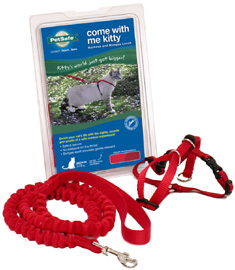Come With Me Kitty Harness & Bungee Leash Red-Cranberry
