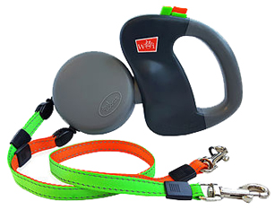 Dual Doggie Dual Retractable Leash Green/Orange